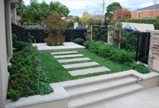 Paved steps and pathways in a garden in Moonee Ponds, Victoria